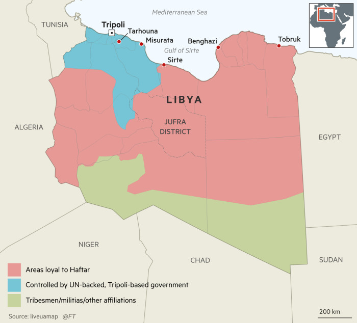 Map of Libya showing the current political situation