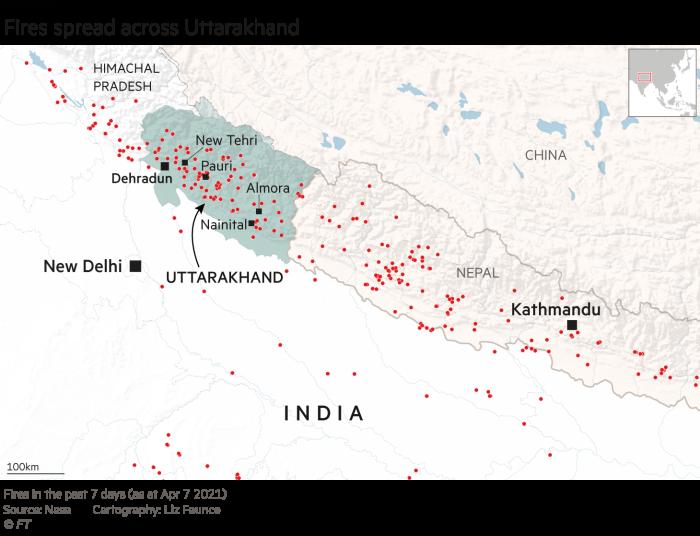 Los incendios se extendieron por el estado de Uttarakhand en India, mapa climático