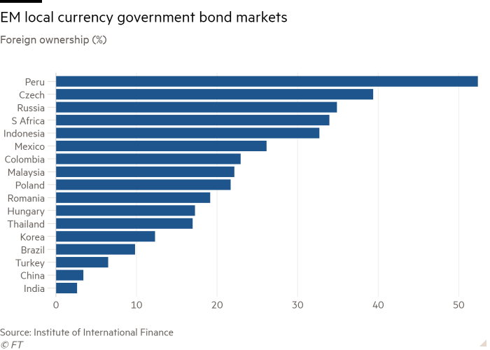 Bar chart of Foreign ownership (%) showing EM local currency government bond markets