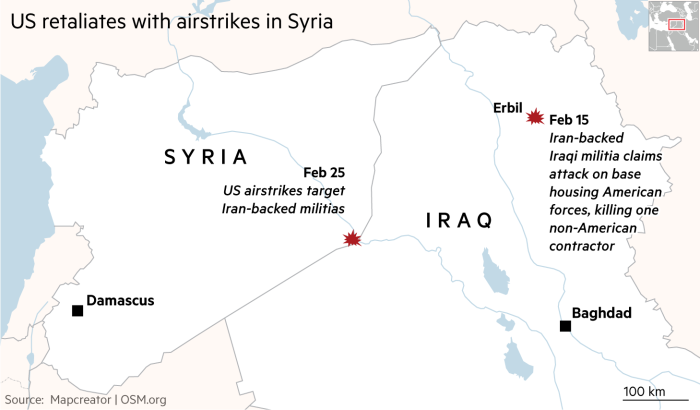 Map showing Iraq and Syria and locations of recent airstrikesFeb 15 Iran-backed Iraqi militia claims attack on base housing American forces, killing one non-American contractorFeb 25 US airstrikes targetIran-backed militias