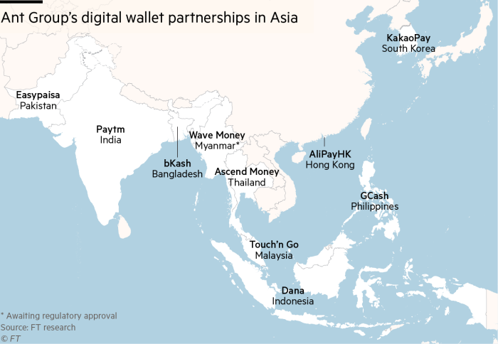 Ant Group's digital wallet partnerships in Asia