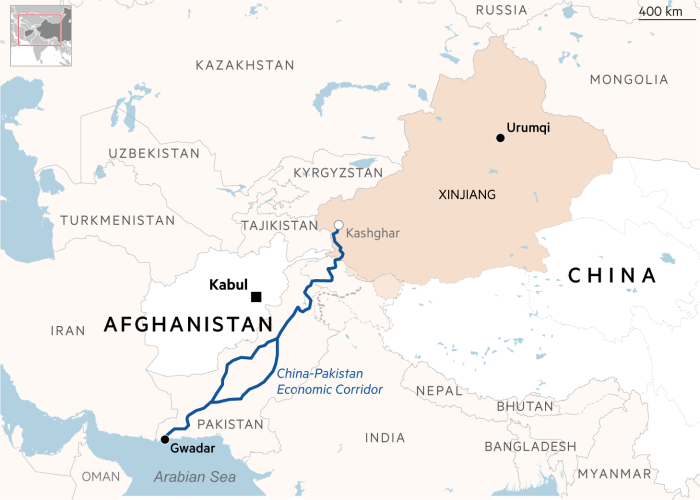 Map of Afghanistan and China