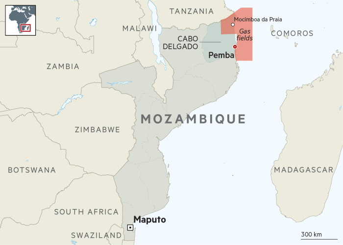 Mozambique map showing gas fields