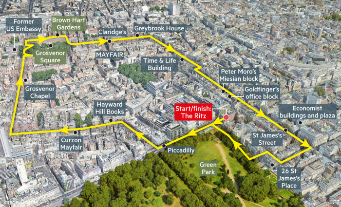 Globetrotter map showing 20th Century Mayfair London walking route starting at The Ritz
