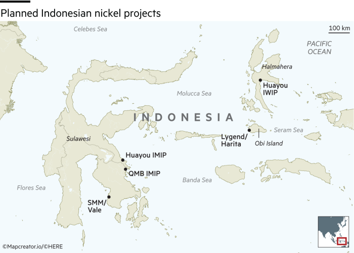 Planned Indonesian nickel projects