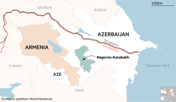 Map showing oil and gas pipelines through Azerbaijan
