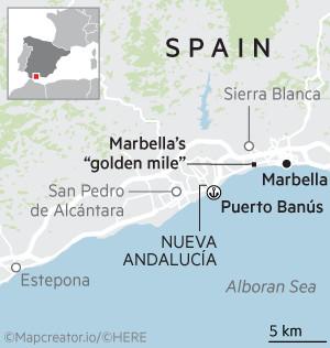 Locator map of Marbella, Spain