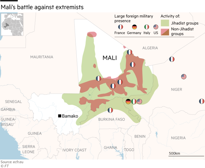 Map showing Mali's battle against extremists