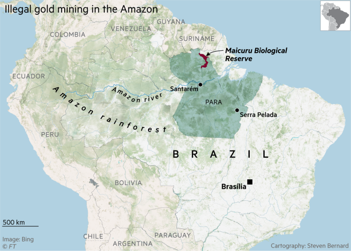 Map showing Amazon rainforest, state of Para and Maicuru Biological Reserve