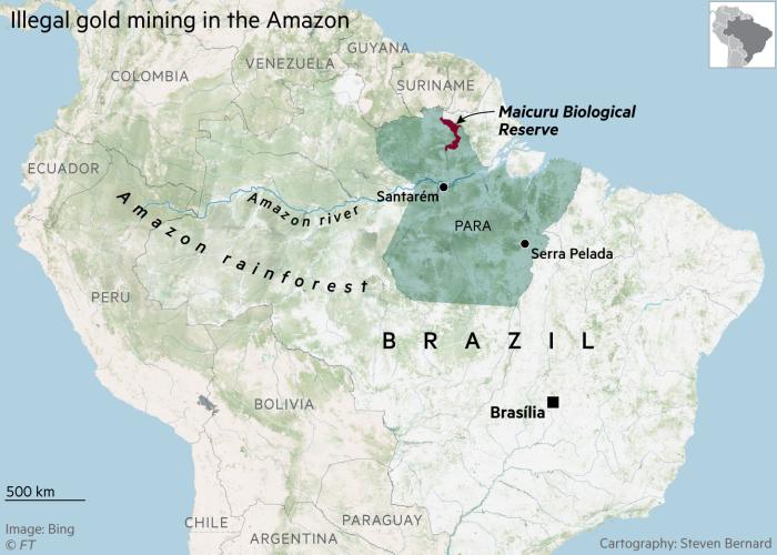 نقشه ای که جنگل های بارانی آمازون ، ایالت پارا و ذخیره گاه زیست شناختی مایکورو را نشان می دهد