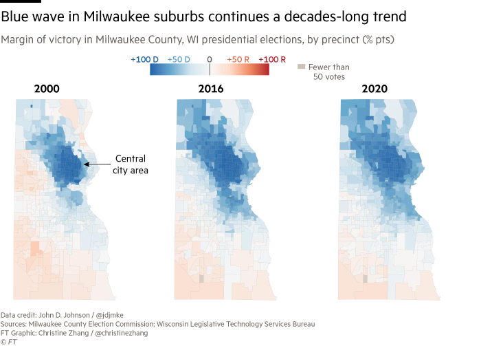 Maps showing a decades-long Democratic shift in the suburbs of Milwaukee, Wisconsin