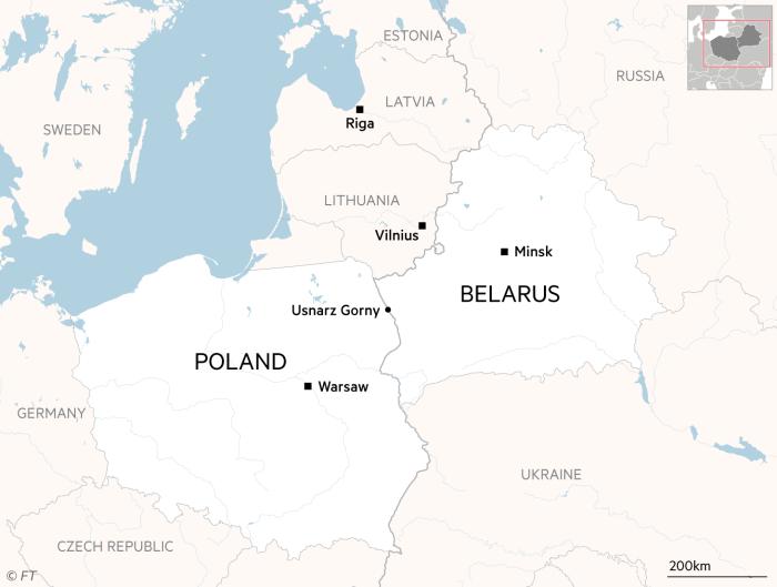 Mapa przedstawiająca granice Polski, Białorusi i krajów Unii Europejskiej