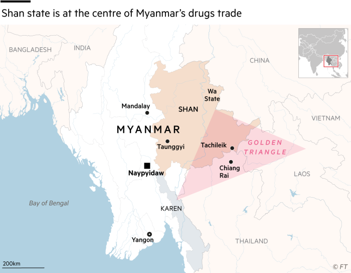 Map showing that Shan state is at the centre of Myanmar's drugs trade