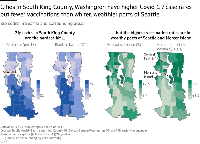 Zip code maps of Covid-19 case rates, black and Latino population, vaccination rates, and income in Seattle, Washington and surrounding parts of King County. Cities in South King County have higher case rates but fewer vaccinations than whiter, wealthier parts of Seattle