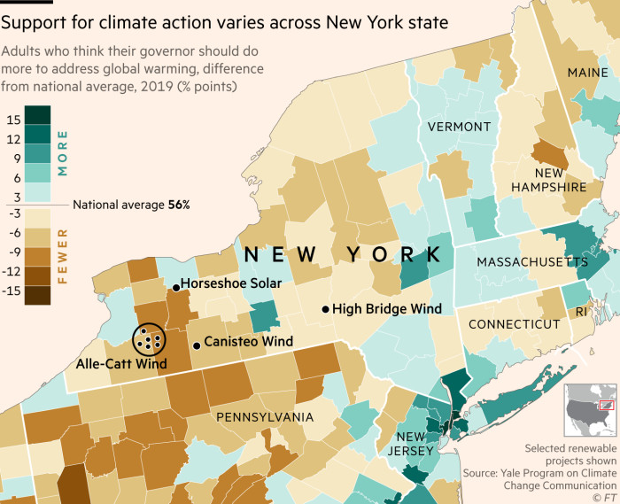Map showing that support for climate action varies across New York state
