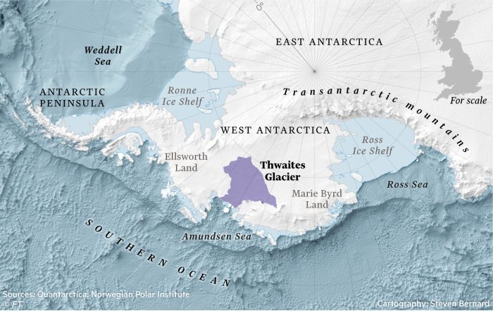 Map of Thwaites Glacier in Antarctica