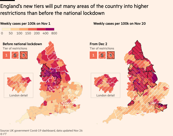 Maps showing how the New Plains of England will restrict many areas of the country more than they did before the national lockdown