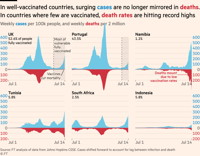 The chart shows that in countries with good vaccination, the delta surge in cases is no longer reflected in the number of deaths.In countries where few people get vaccinated, the mortality rate is at a record high