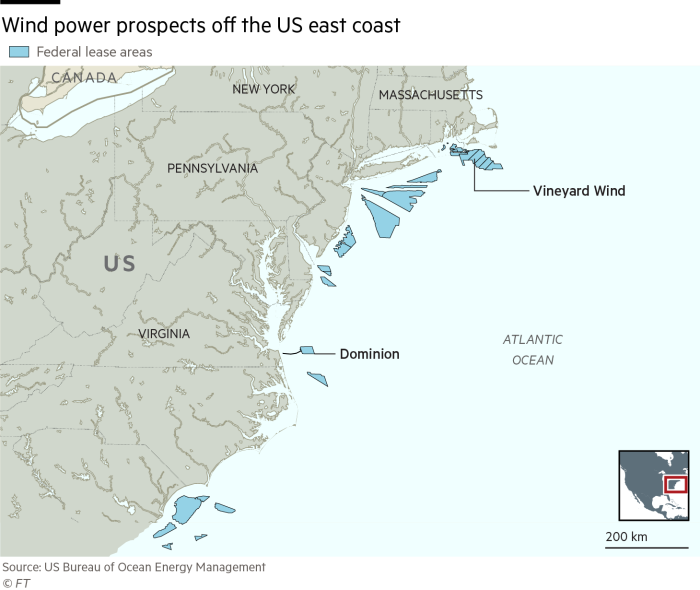 Wind power prospects off the US east coast