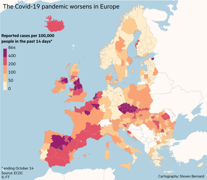 The Covid-19 pandemic worsens in Europe. Map showing reported cases per 100,000 people in the past 14 days to October 14. Ile de France reported more than 2,100 cases per 100k. This is a fivefold increase over the previous week