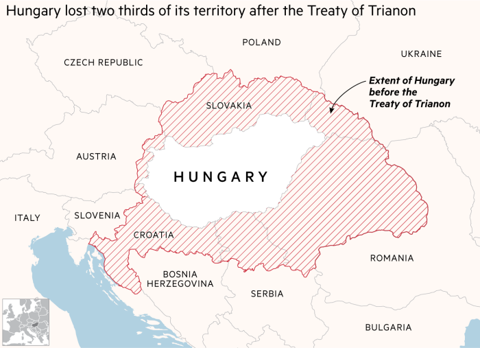 Map showing Hungary lost two thirds of its territory after the Treaty of Trianon