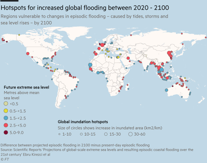 Map showing hotspots for increased global flooding between 2020 - 2100, regions vulnerable to changes in episodic flooding – caused by tides, storms andsea level rises – by 2100