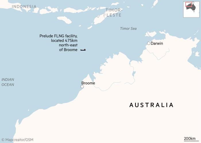 Mapa de localización de las instalaciones de Prelude FLNG en Broome, Australia