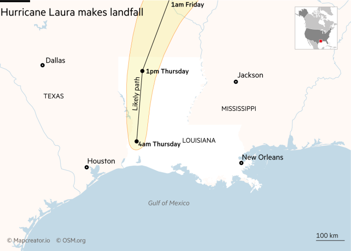 Map showing the path of Hurricane Laura through Louisiana as it makes landfall from the Gulf of Mexico