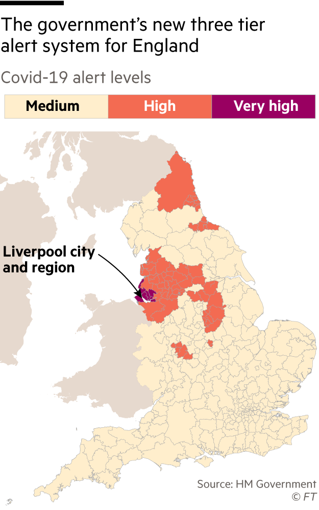 The government's new tier system, map of UK showing which areas are in Medium, high and very high restrictions for Covid-19