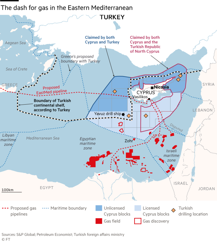 Map showing the dash for gas in the Eastern Mediterranean