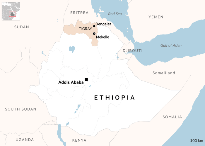 Ethiopia map with Tigray and Dengelat highlighted