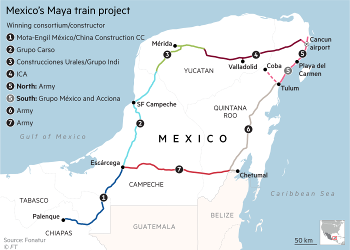 Map showing route and ownership of Mexico's Maya train project