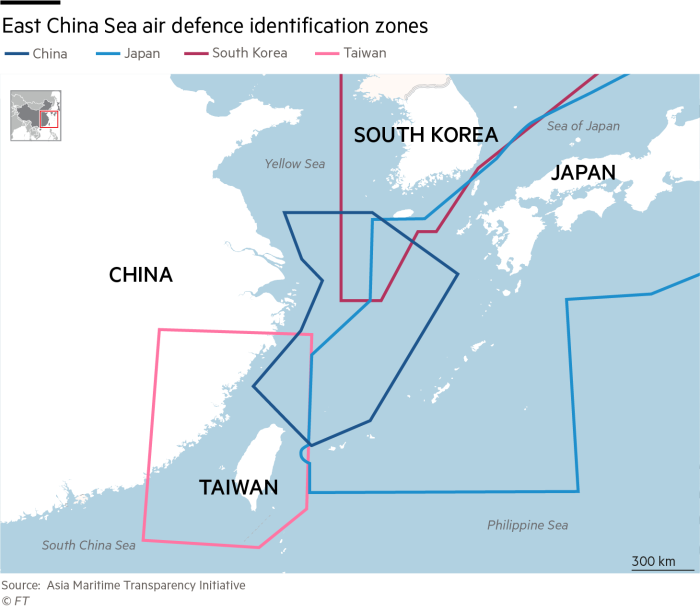 Map of East China Sea air defence identification zones