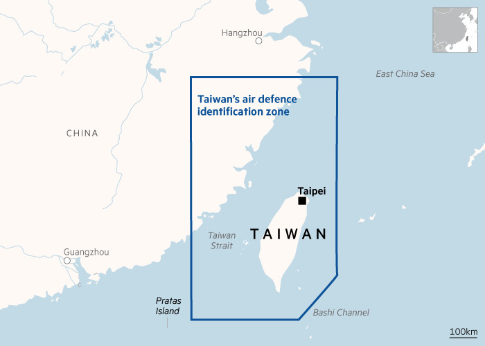 MAP of Taiwan's air defence identification zone
