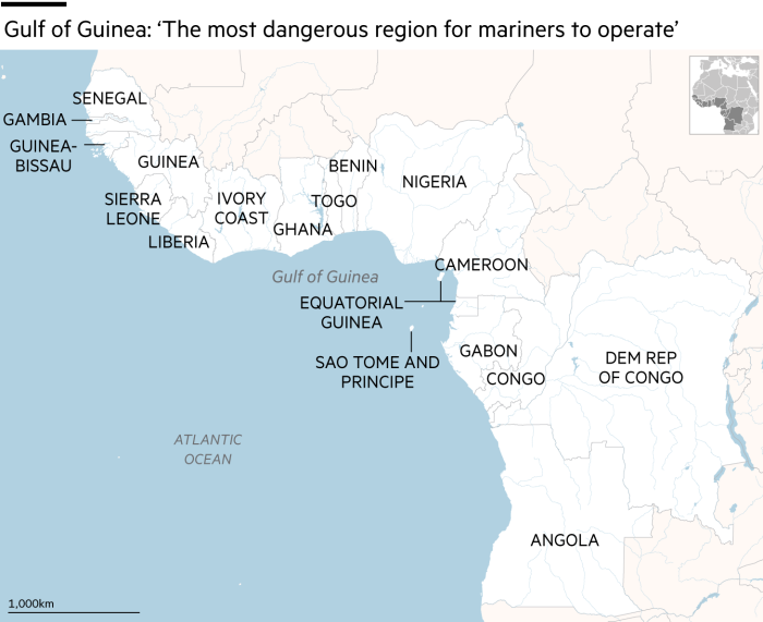 Map showing Gulf of Guinea: 'The most dangerous region for mariners to operate'