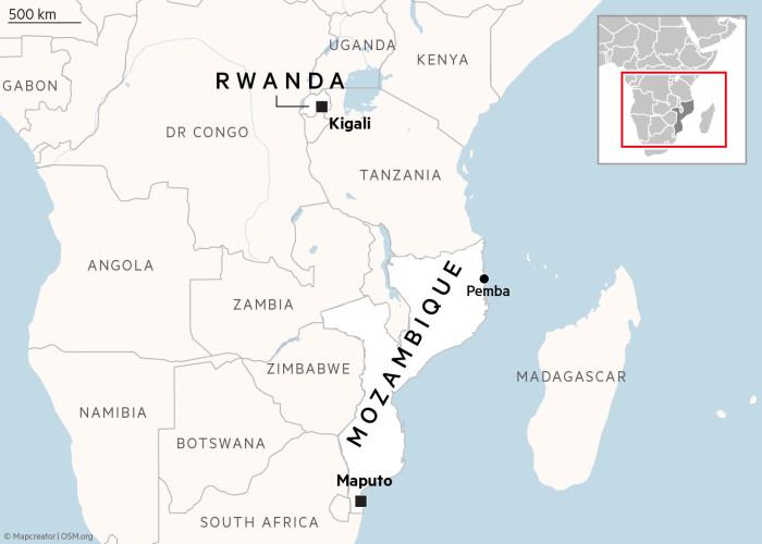 Map showing Rwanda and Mozambique