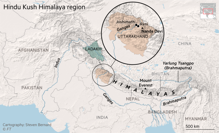 Map showing the Hindu Kush Himalaya region
