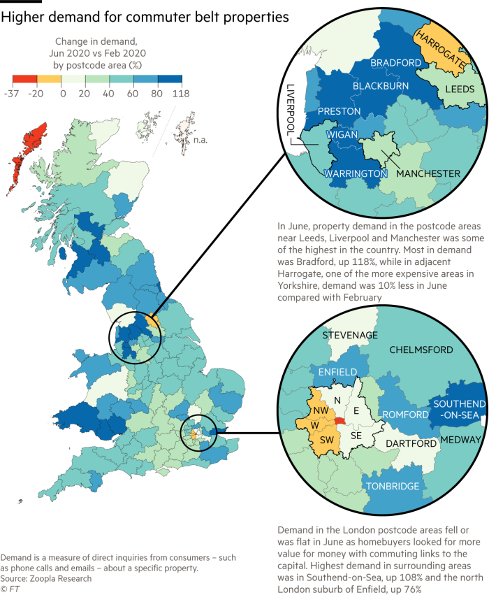 Map showing higher demand for commuter belt properties in the UK, contrasting with lower demand in London, particularly in the west of London