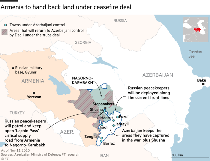 Map showing Armenia to hand back land under ceasefire deal in Nagorno-Karabakh conflict