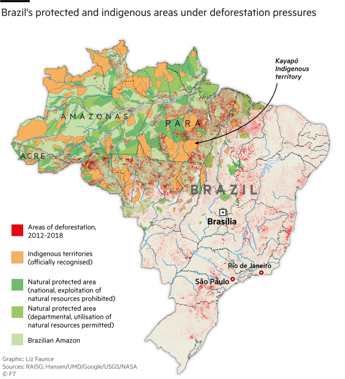 Brazil's protected and indigenous areas under deforestation pressures