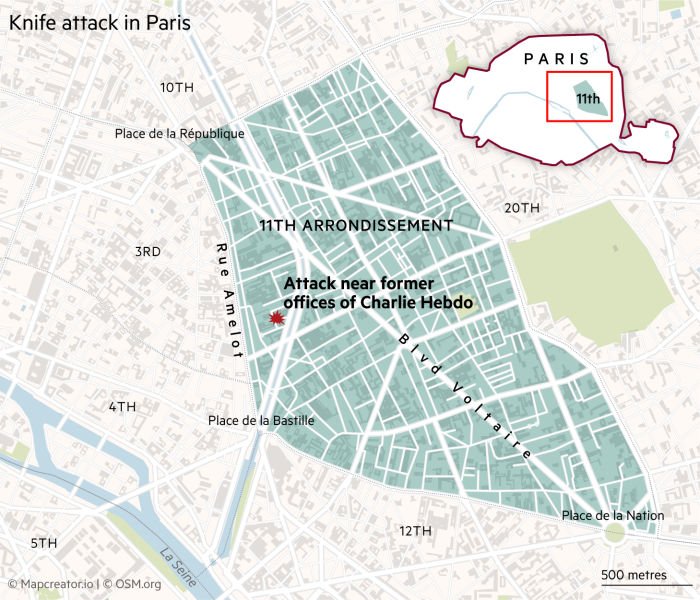 Two Injured In Stabbing Attack Near Former Charlie Hebdo Office In Paris Financial Times