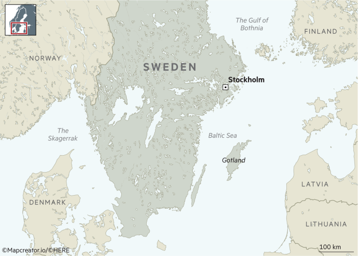 Map of Sweden showing Gotland and the Baltic Sea