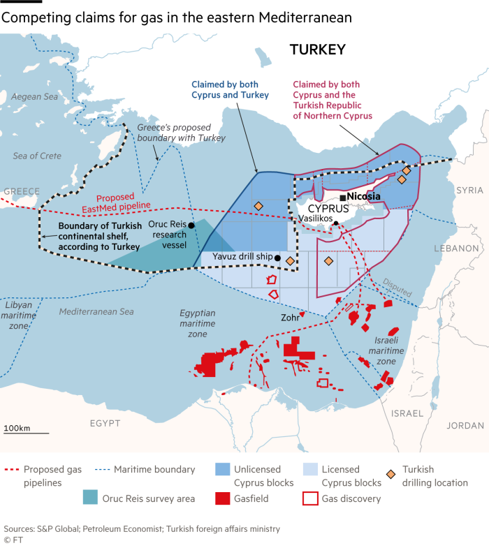 Map showing competing claims for gas in the eastern Mediterranean