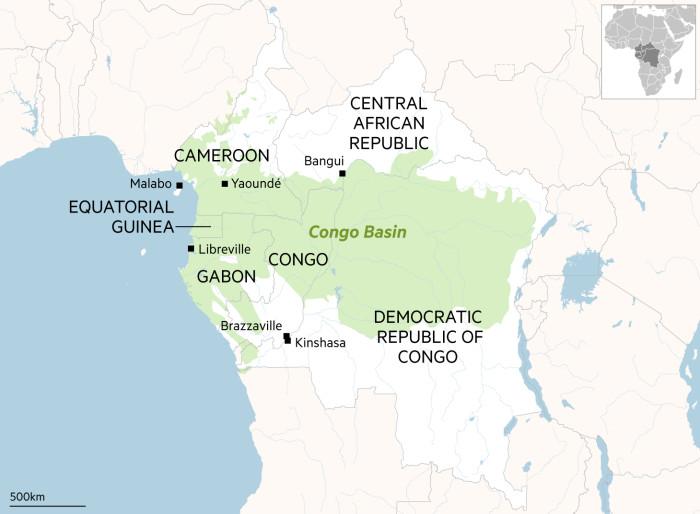 Map showing the area of the Congo Basin and the six countries it is part of. Gabon, Congo, Central African Republic, Equatorial Guinea, Cameroon and Democratic Republic of Congo