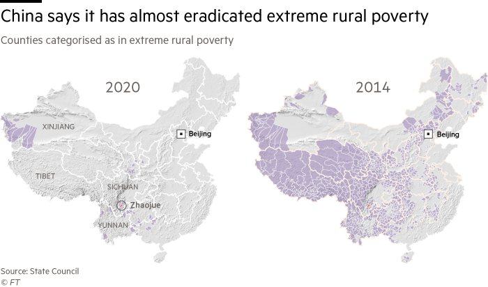 A pair of maps showing counties in China categorised as in extreme rural poverty, in 2014 and 2020. China says it has almost eradicated extreme rural poverty, from more than 800 counties in 2014, down to over 50 in 2020.