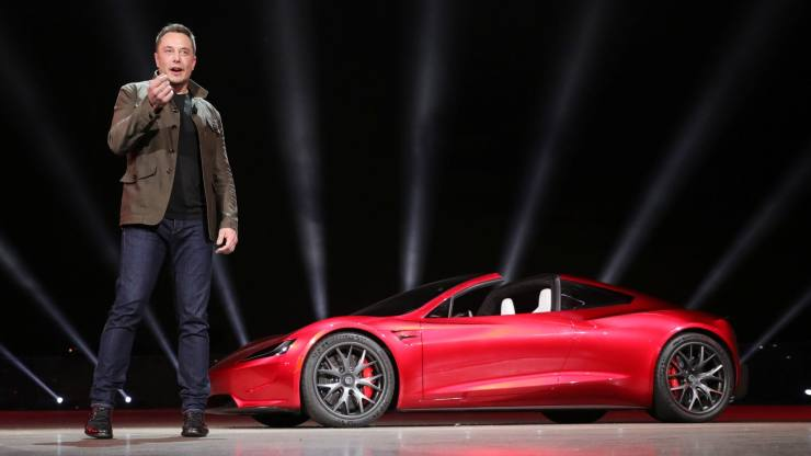 Tesla CEO Elon Musk unveils the Roadster 2 during a presentation in Hawthorne, California, U.S., November 16, 2017. Tesla/Handout via REUTERS     ATTENTION EDITORS THIS IMAGE WAS PROVIDED BY A THIRD PARTY. NO ARCHIVES. NO RESALES