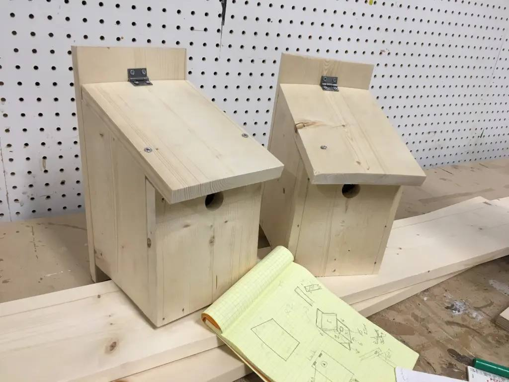 The end result, two not quite perfect bird boxes