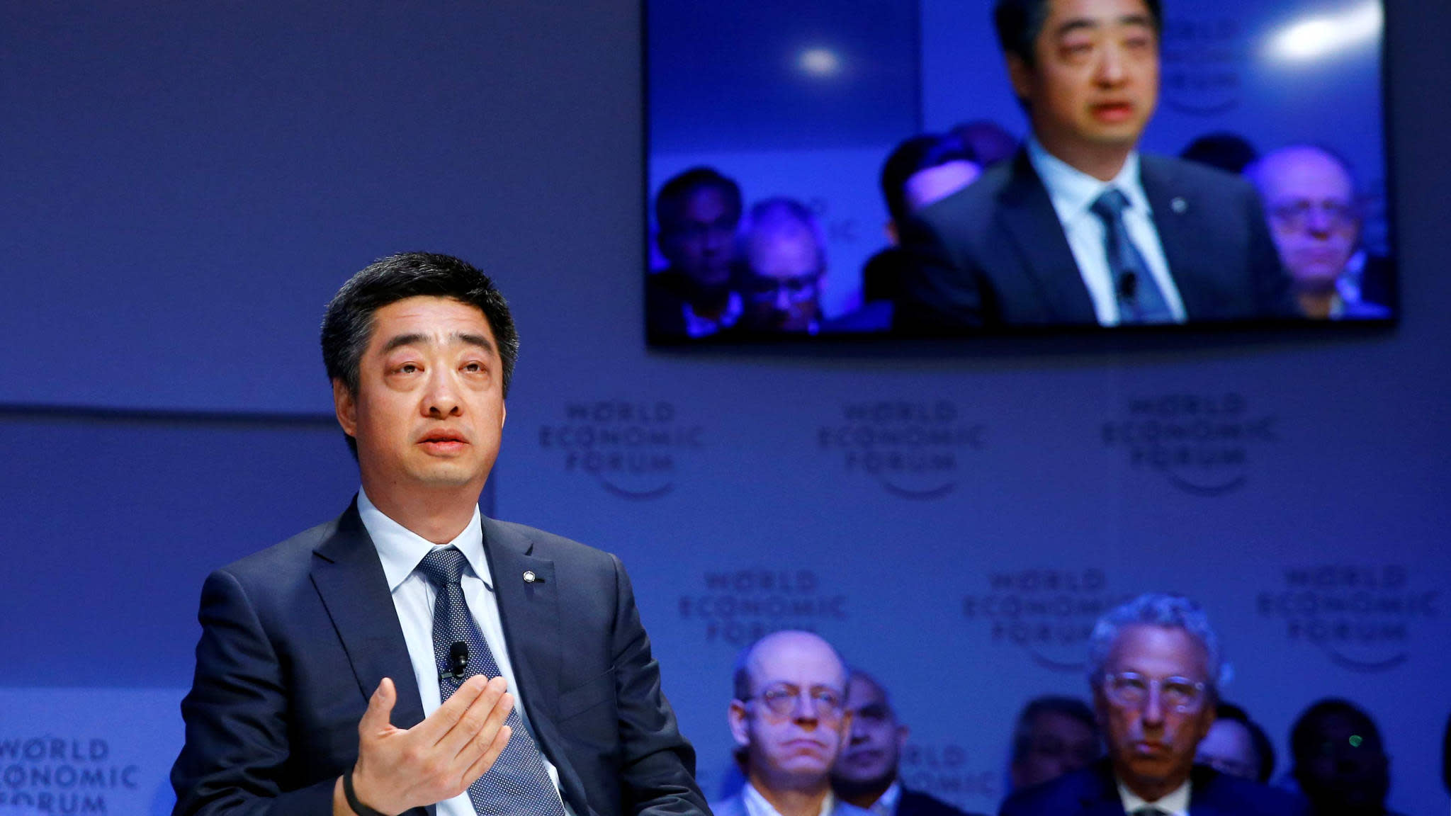 Ken Hu, deputy chairman of  Technologies, spoke at the annual meeting of the World Economic Forum in Davos, Switzerland, on Jan. 22.