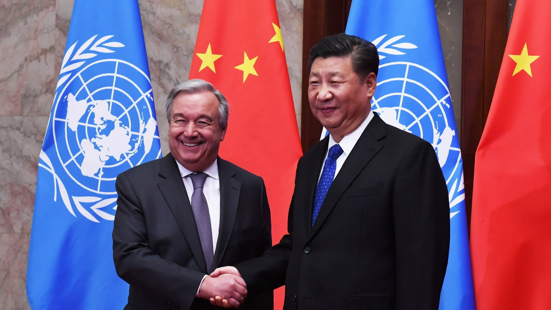 U.N. Secretary-General Antonio Guterres with Chinese President Xi Jinping in Beijing this April. China will become the second-biggest contributor to the international body.