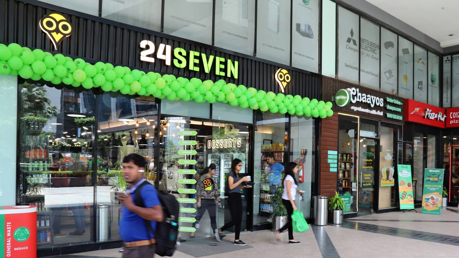 A 24Seven store in a New Delhi suburb. Godfrey Philips India, which operates the 24Seven chain, is pursuing an aggressive expansion strategy.